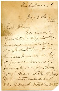 """Letter to John Doole from sister Lizzie in Ireland: """"Dear Johnny, We received your letter a very short time ago and we are very glad to hear from you once more. We see by it you are commenced farming again you have got a brave stock of pigs for a start"""""""