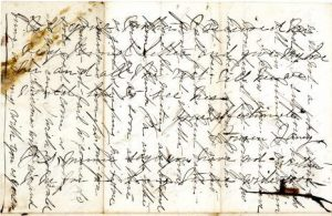 """Sarah Wrights letter to cousins, in which she ran out of room and wrote across the last page, in a method called """"cross-hatching""""."""